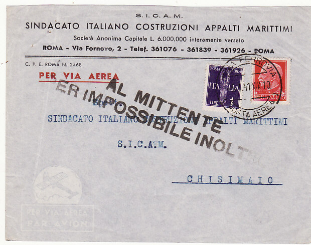 [18636]  ITALY - ITALIAN SOMALILAND …WW2 RETURN TO SENDER IMPOSSIBLE TO DELIVER.....  1941 (Jan 18)