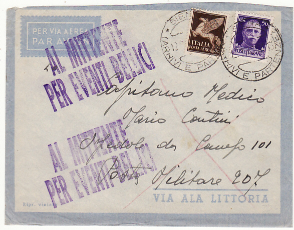 [18642]  ITALY - ALBANIA …WW2 UNABLE TO DELIVER.....  1941 (Feb 12)
