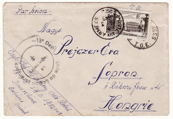 [18645]  INDO-CHINE - HUNGARY ...1949 FRENCH FOREIGN LEGION....  1949 (Mar 6)