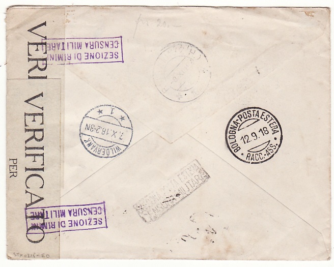 [18654]  SAN MARINO - HOLLAND…..WW1 CENSORED REGISTERED MAIL with TPO …..   1918 (Sep 10)