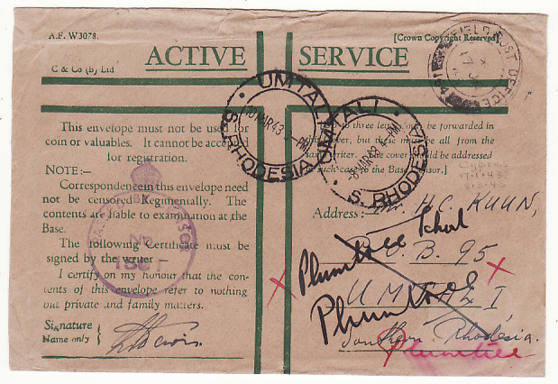 [18700]  CYPRUS - RHODESIA...WW2 CENSORED HONOUR ENVELOPE…  1943 (Jan 17)