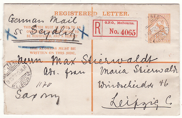 [18726]  AUSTRALIA - GERMANY..4d KANGAROO REGISTERED ENVELOPE..  1914 (Jan 20)