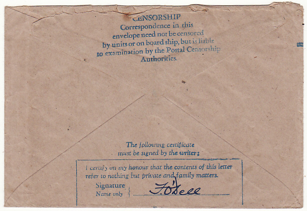 [18735]  PALESTINE - GB...WW2 CENSORED RAF HONOUR ENVELOPE…  1944 (Apr 7)