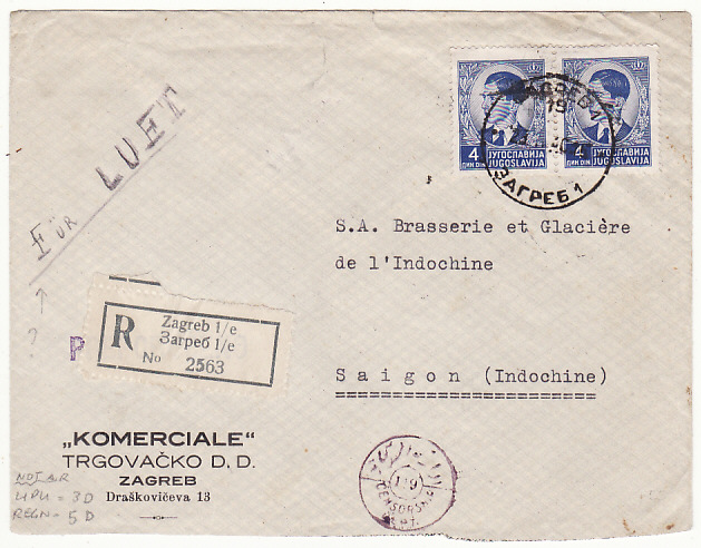 [18778]  YUGOSLAVIA - INDO-CHINE…1940 REGISTERED CENSORED ...   1940 (Feb 25)