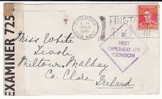 [18841]  AUSTRALIA - IRELAND…WW2 NT OPENED BY CENSOR …  1941 (Mar 28)