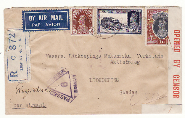 [18957]  INDIA - SWEDEN… WW2 CENSORED REGISTERED AIRMAIL ..  1940 (Feb 1)