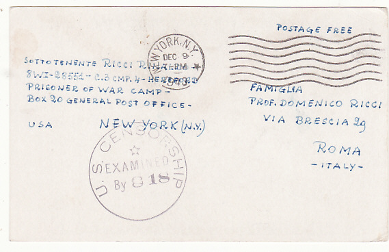 [19245]  USA - ITALY…WW2 XMAS CARD from POW at HEREFORD POW CAMP .....  1943 (Dec 29)