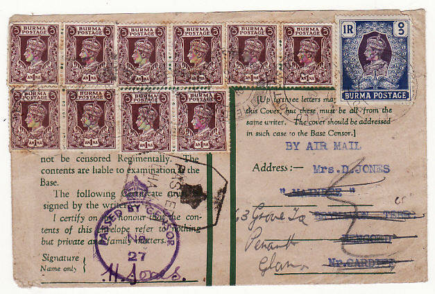 [19017]  BURMA - GB …WW2 CENSORED AIRMAIL.…  1942 (Apr 8)