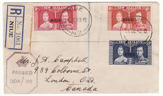 [19149]  NIUE - CANADA…WW2 REGISTERED CENSORED from N.Z. DEPENDENCY ...  1943 (Jun 24)