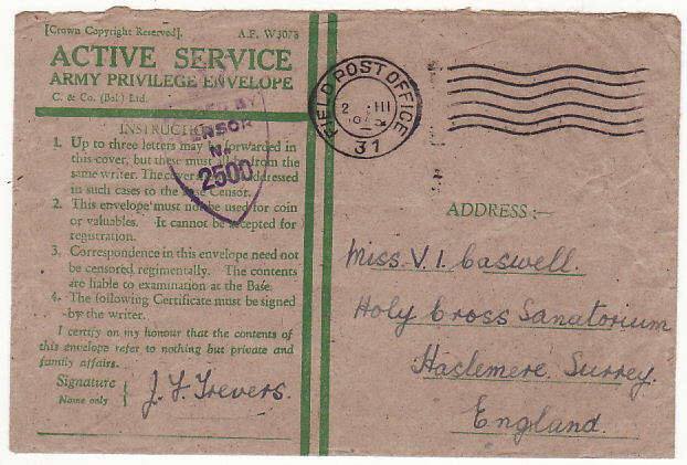 [19364]  GREAT BRITAIN…WW2 HONOUR ENVELOPE cancelled in BRUSSELS…  1945 (Mar 2)
