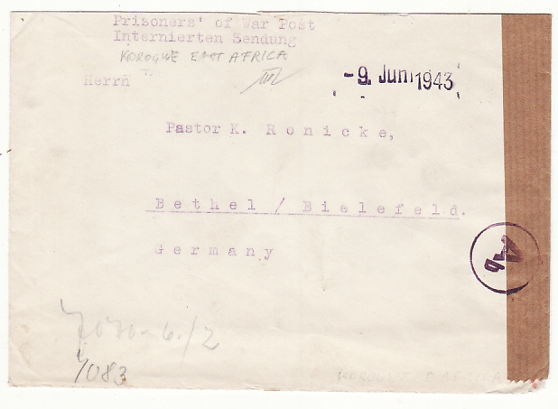 [19309]  TANGANYIKA - GERMANY…WW2 GERMAN INTERNEE MAIL from KORAGWE…  1943 (Jun 9)
