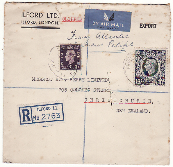[19347]  GB - NEW ZEALAND…WW2 REGISTERED 2 OCEAN AIR MAILwith 10/- DARK BLUE…  1941 (Dec 2)
