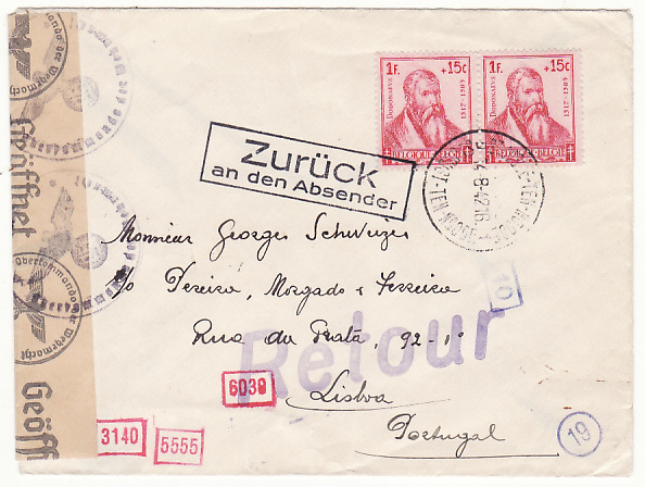 [19215]  BELGIUM - PORTUGAL…WW2 RETURNED TO SENDER…  1942 (Aug 14)