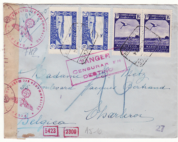 [19219]  SPANISH MOROCCO - BELGIUM …WW2 DOUBLE CENSORED REGISTERED AIRMAIL…  1944 (Jan)