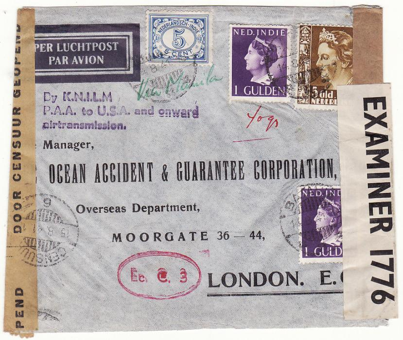 [19197]  NED. EAST INDIES - GB…WW2 1941 DOUBLE CENSORED TWO OCEAN AIRMAIL…  1941 (Aug 14)
