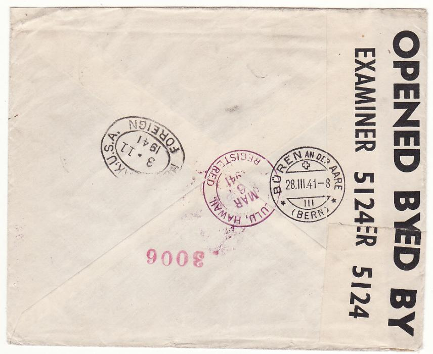 [19198]  NED. EAST INDIES - SWITZERLAND…WW2 1941 DOUBLE CENSORED TWO OCEAN REGISTERED AIRMAIL…  1941 (Feb 21)
