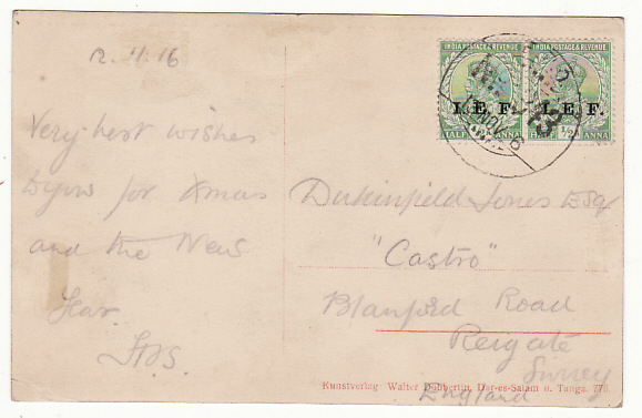 [19224]  GERMAN EAST AFRICA - GB…WW1 BRITISH OCCUPATION…  1916 (Nov 12)