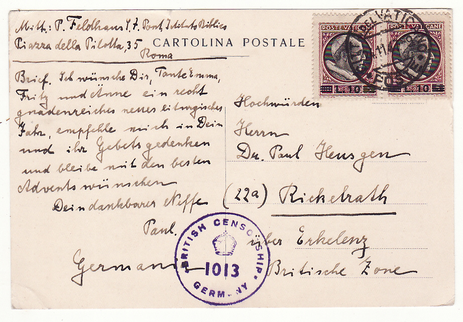 [18791]  VATICAN - GERMANY…POST WW2 ALLIED CENSORSHIP ....   1947 (Nov 24)