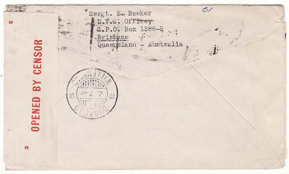 [19523]  AUSTRALIA - CURACAO…FREE DUTCH FORCES DOUBLE CENSORED AIRMAIL…  1945 Plain envelope via airmail to Curacao from Sgt. E. Beeker, D.V.G. Office, GPO Box 1386-B, Brisbane bearing GV1 3d + Kaola Bear 4d + Roo 2/- making 2/7 rate & with red double rimmed circular Passed By /R.N.F. Censor /No 31 with manuscript initials inserted plus Plain white resealin label with on opposite side red on white 2 /Opened By Censor label tied diamond violet 2 /Passed /By / Censor /1763 hand stamp & on reverse Curacao (2 Jul)