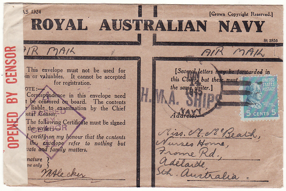 [19540]  AUSTRALIA …WW2 USA NAVAL FORCES in AUSTRALIA…  1945 (Jun 14)