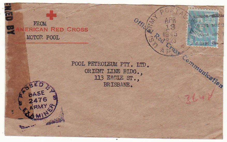 [19544]  AUSTRALIA…WW2 USA FORCES in AUSTRALIA from 28th SURGICAL HOSPITAL…  1945 (Apr 13)