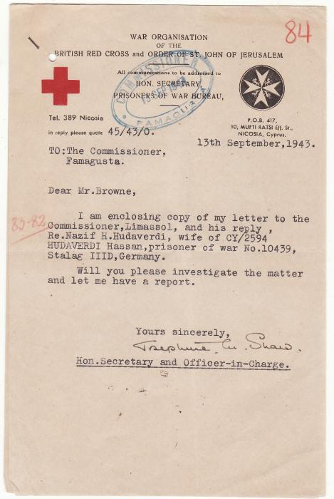 [19569]  CYPRUS..BRITISH RED CROSS & COMMISSIONERS ref CYPRIOT POW..  1943 (Jul 14)