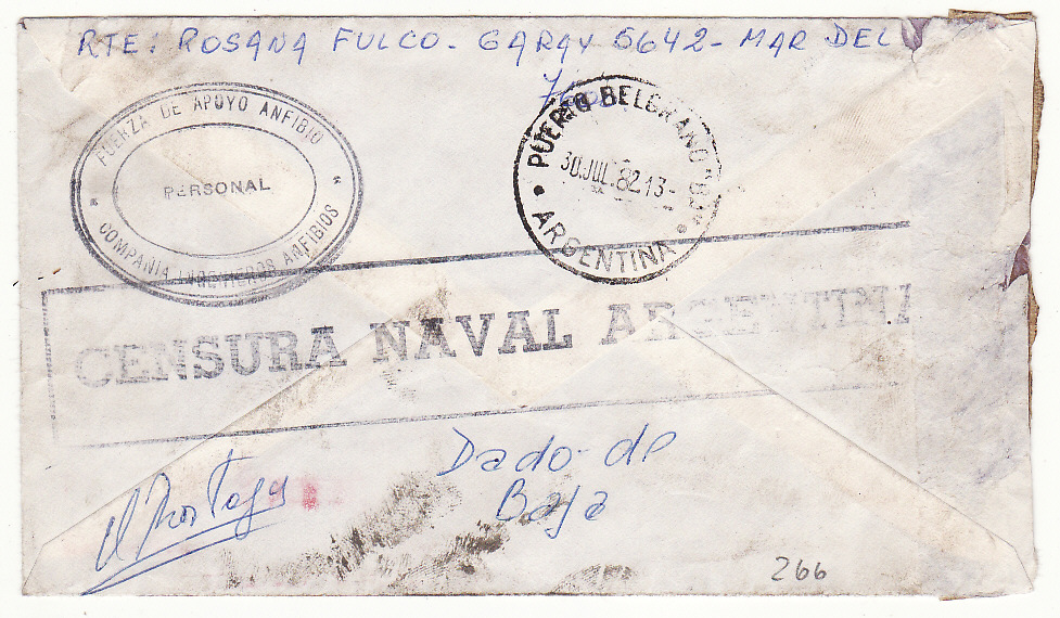 [19580]  ARGENTINA - FALKLAND Is…..1982 ARGENTINE NAVAL CENSOR.  1982 (May 10)