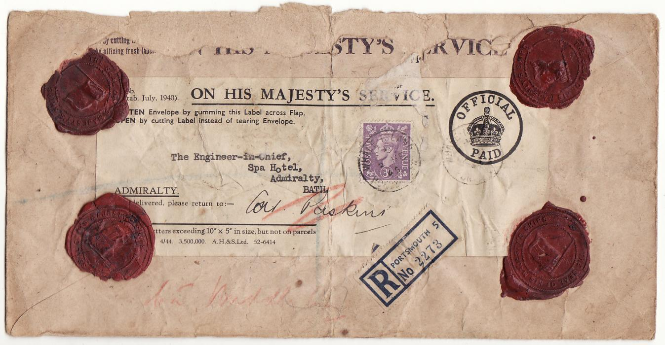 [19581]  GREAT BRITAIN..O.H.M.S REGISTERED NAVAL MAIL..  1945 (Feb 2)