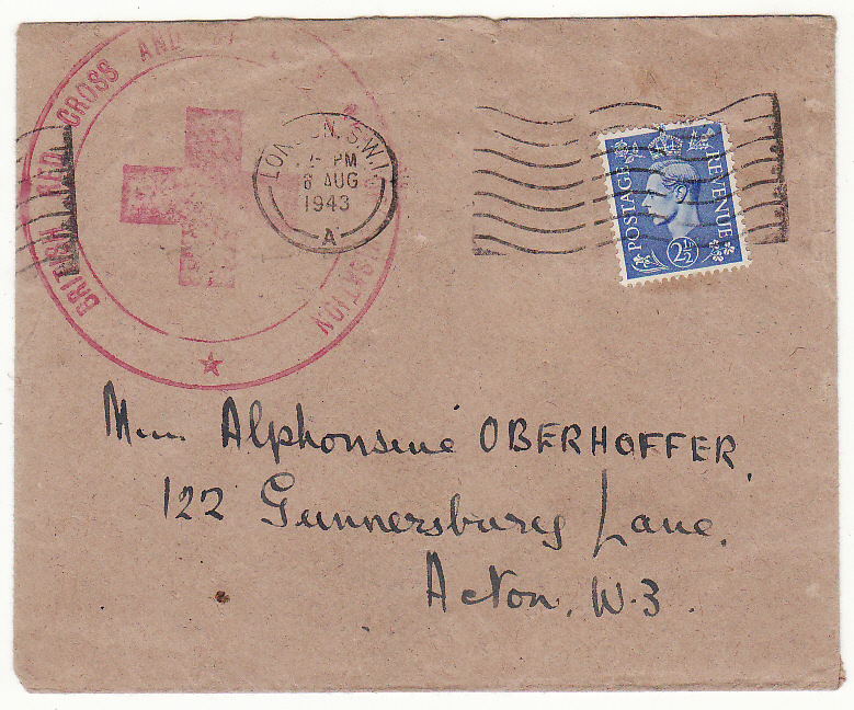 [19585]  GREAT BRITAIN..WW2 RED CROSS..  1943-44 Pair plain envelopes to Alphonsine Oberhoffer, Acton S.W.3 from Foreign Relations Department, British Red Cross & Order of St. John, Clarence House, St., James, London S.W.1 bearing GB 2½d tied London S.W.1 date stamps & with large 58mm (6 Aug 43)