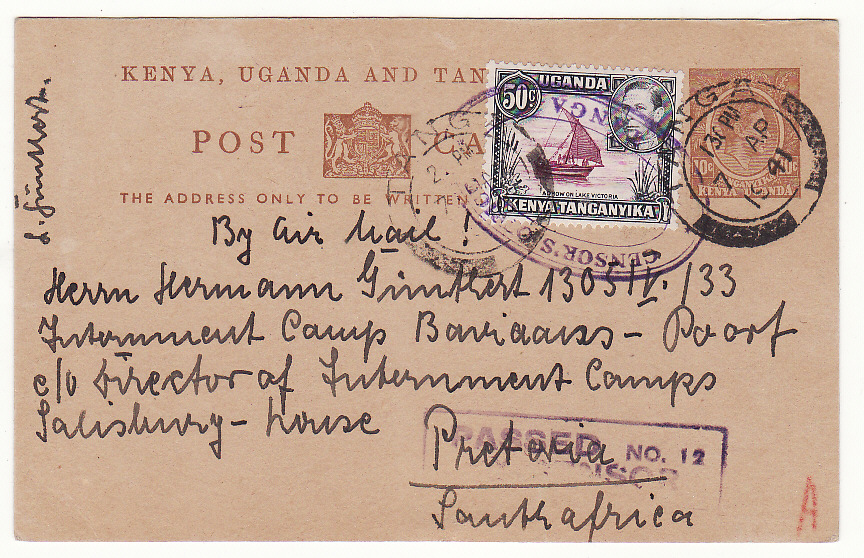 [19626]  TANGANYIKA - SOUTH AFRICA..CENSORS OFFICE TANGA to INTERNEE…  1941 (Apr 7)