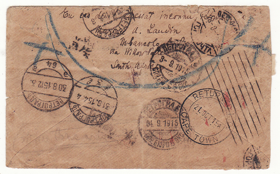[19636]  SOUTH AFRICA - RUSSIA …WW1 RETURNED TO SENDER…  1915 (Jul 16)