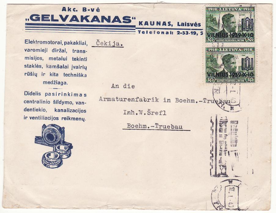 [19701]  LITHUANIA - CZECHOSLOVAKIA…WW2 ELECTRICAL MOTOR COMPANY CENSORED…  1940 (Jan 17)