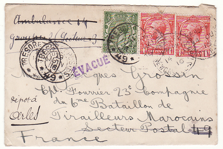 [19717]  GB - FRANCE…WW1 to FRENCH SOLDIER, FORWARDED & EVACUE  1916 (Jun 14)