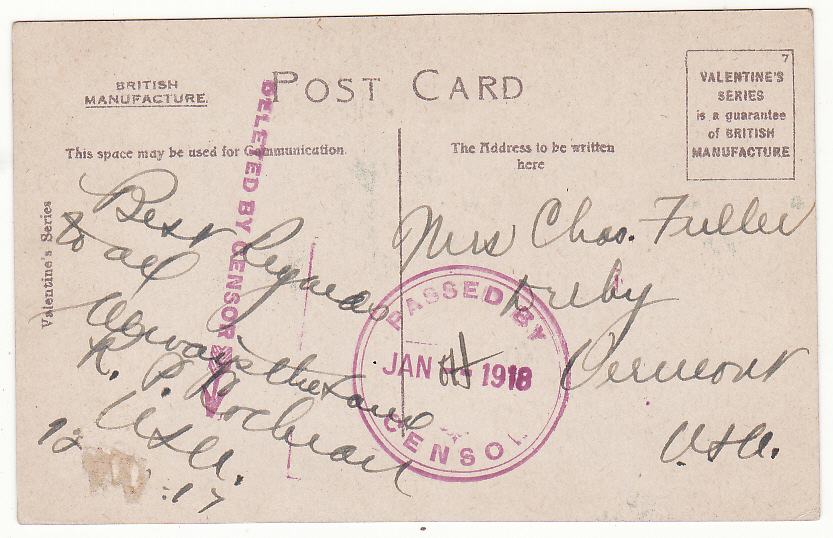 [19718]  SOUTH AFRICA - USA...WW1 PPC with DELETED BY CENSOR…  1917 (Dec !)