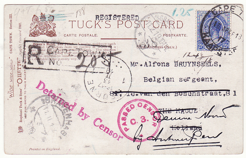 [19719]  SOUTH AFRICA - NETHERLANDS...WW1 REGISTERED CENSORED POSTCARD DETAINED BY CENSOR…  1917 (Apr 16)
