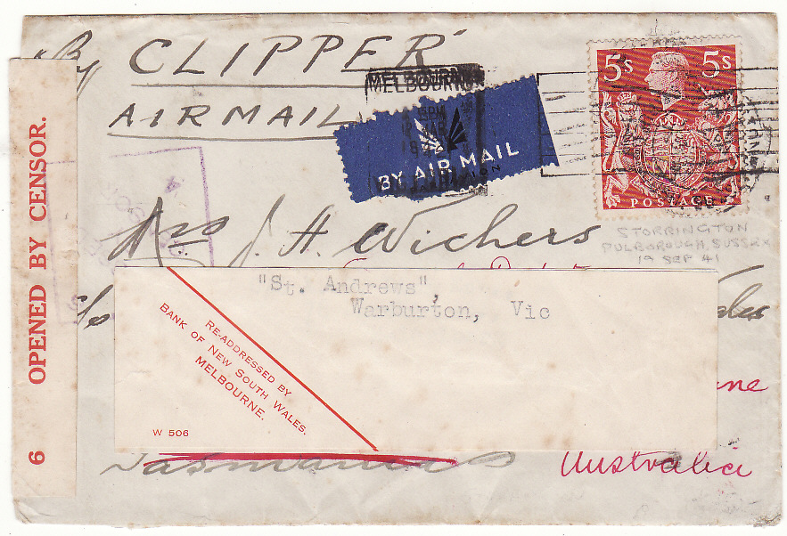 [19716]  GB - AUSTRALIA…WW2 TWO OCEAN CENSORED AIRMAIL with solo 5/-…  1941 (Sep 19)