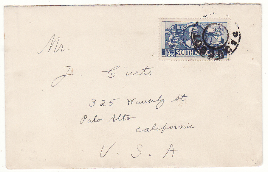 [19806]  SOUTH AFRICA - USA…WW2 CENSORS ENCLOSURE & with PAQUEBOT …  Plain undated envelope circa 1942 to Palo Alto, CA bearing Womens Auxiliary Service 3d tied black circular Paquebot cds & with Union of South Africa Censorship /It is Contrary to Security Regulations to transmit the items listed. They have, therefore, been Held by the Censor enclosure & on reverse bi-lingual U.C.8 (Small)
