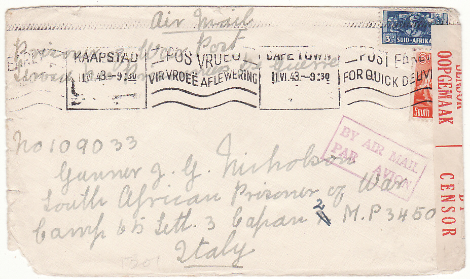 [19815]  SOUTH AFRICA - ITALY... WW2 POW MAIL  1943 Pair Plain envelopes one with bottom left corner nibble by airmail to South African POW