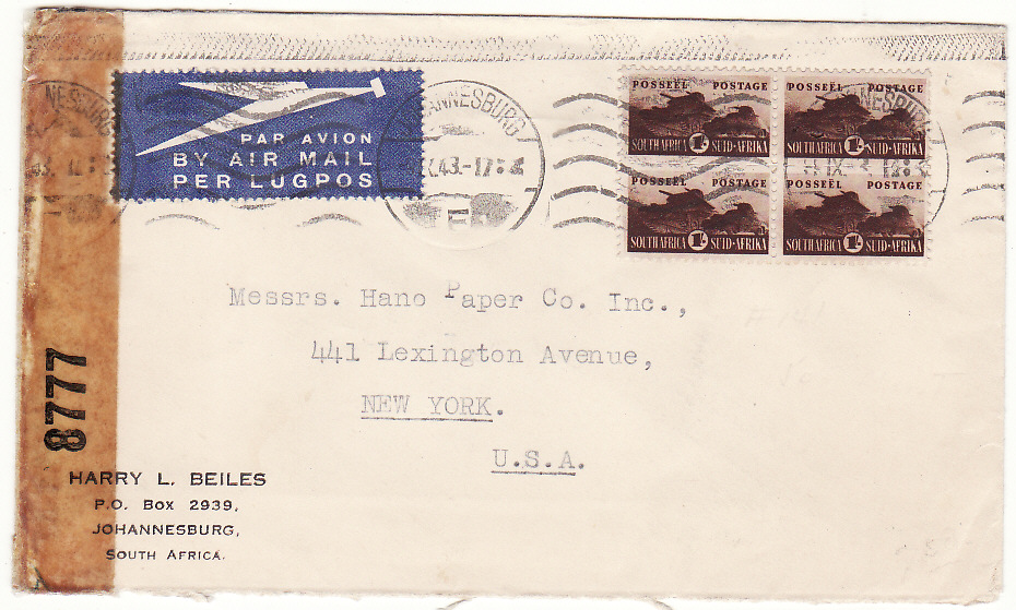 [19827]  SOUTH AFRICA - USA…WW2 TRANS ATLANTIC AIRMAIL. …  1942 - 1944 Trio of plain envelopes by airmail to California or New York (2)