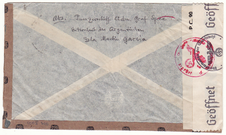 [17749]  ARGENTINA - GERMANY.. GERMAN GRAF SPEE POW with SPECIAL CENSOR TREATMENT...  1942 (Jun 9)