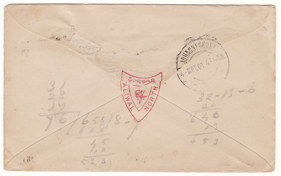 [19839]  SOUTH AFRICA …BOER WAR CENSORED . …  1901 Criterion Hotel, Alwal North printed envelope to Johannesburg bearing C.O.G.H 1d tied unclear Alwal North squared circle & with violet triangular Passed /Press /Censor with red crayon initials & on reverse flap sealed with red Shield Censor /Alwal /North handstamp & Johannesburg (4 Mar)