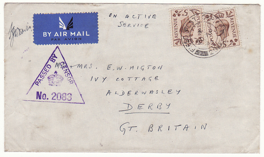 [19886]  PALESTINE - GB …WW2 BRITISH FORCES EARLIEST RECORDED DATE …  1941 (Apr 20)