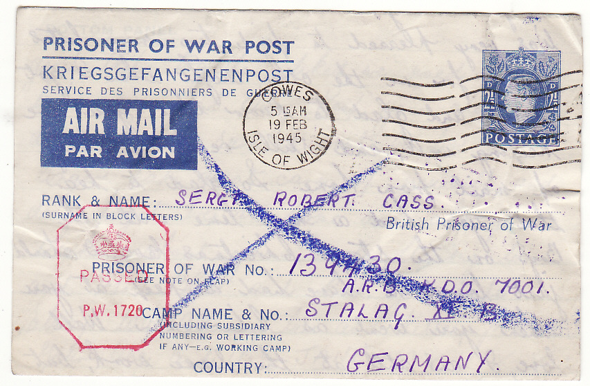 [19903]  GB - GERMANY … WW2 POW RETURNED TO SENDER ...   1945 (Feb 18)