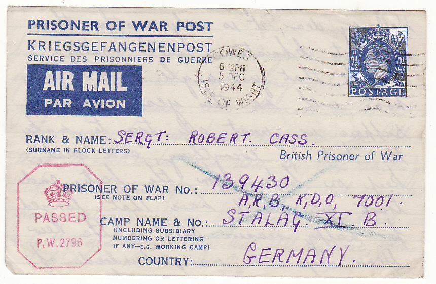 [19905]  GB - GERMANY … WW2 POW PART OF UNDELIVERED MAILS & RETURNED ...   1944 (Dec 5)