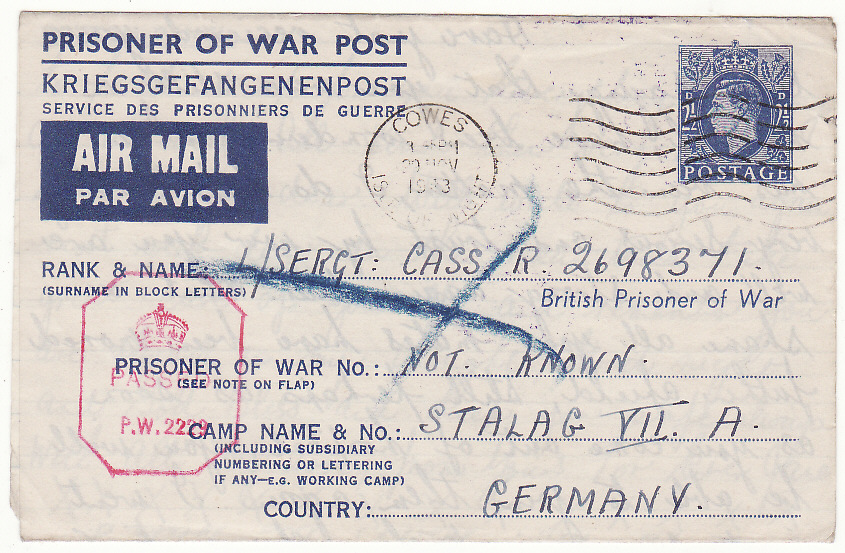 [19906]  GB - GERMANY … WW2 POW PART OF UNDELIVERED MAILS & RETURNED ...   1943 (Nov 15)