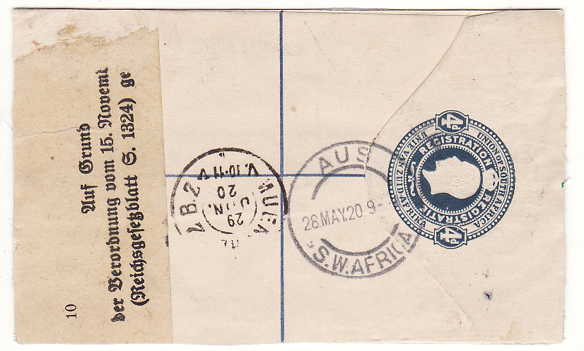 [19870]  SOUTH WEST AFRICA - GERMANY .. 1920 REGISTERED AUS to MUNICH with CURRENCY CONTROL ..  1920 (May 27)
