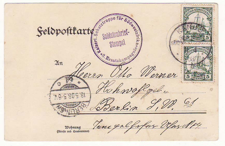 [19867]  GERMAN SOUTH WEST AFRICA - GERMANY … HERERO WARS 1903 - 1907 ...  1908 (Apr 1)
