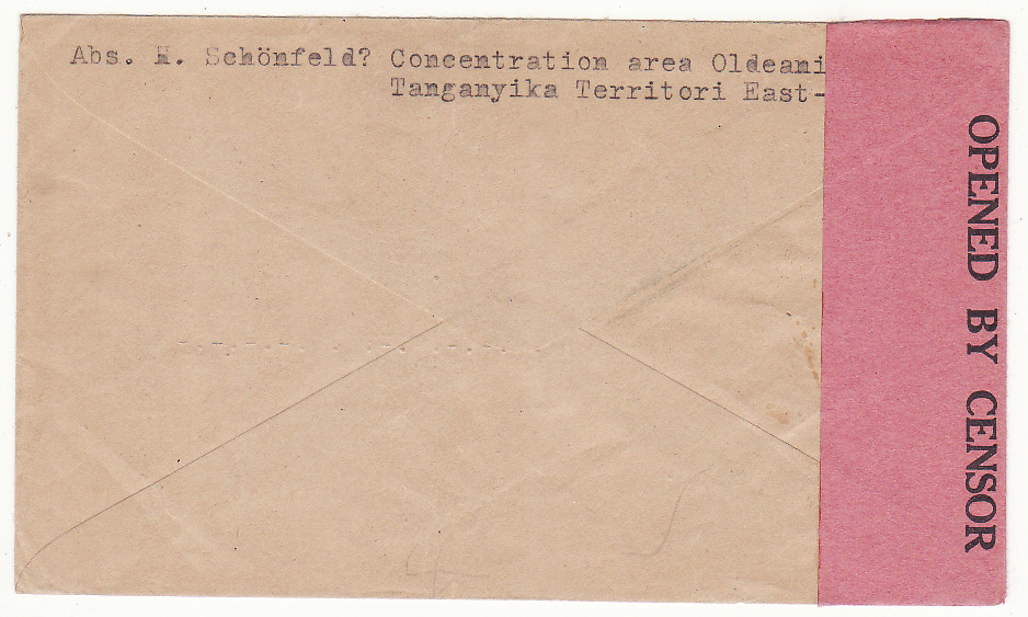 [19953]  TANGANYIKA - GERMANY..WW2 CONCENTRATION AREA OLDEANI…  1943 Stampless envelope endorsed Internees Mail, Letter in German to Bethel bei Beilefeld from H. Schonfeld, Concentration Area Oldeanni. T.T. with unframed red 4 Mai 1943 hand stamp & with black on Salmon PC 4 Opened By Censor (CCSG IV)