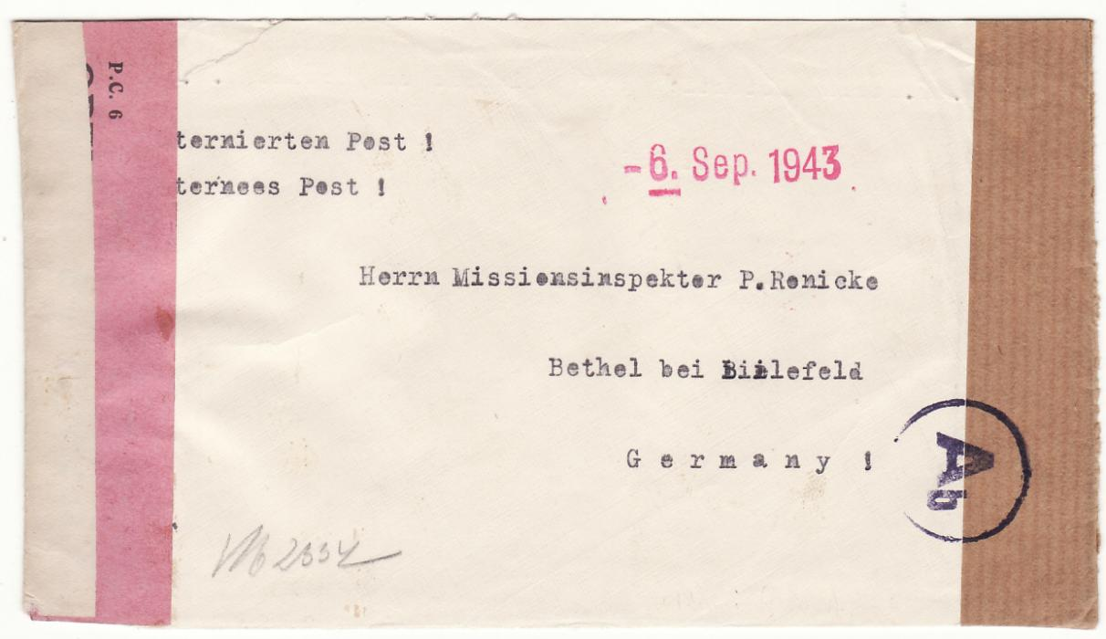 [19952]  TANGANYIKA - GERMANY..WW2 OLDEANI DETENTION AREA…  1943 Stampless envelope endorsed Internees Mail to Bethel bei Beilefeld from Dr. Stern, Detention Area Oldeanni via Arusha T.T. with unframed red 6 Sep 1943 hand stamp & with black on Salmon PC 6 Opened By Censor (CCSG IV)