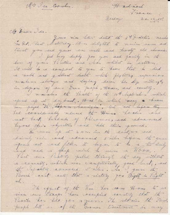 "[19967]  AUSTRALIA … WW1 A.I.F forces in FRANCE with VIVID letter...  ""1918 (Dec 20)"